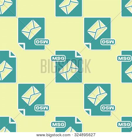 Green Msg File Document. Download Msg Button Icon Isolated Seamless Pattern On Yellow Background. Ms