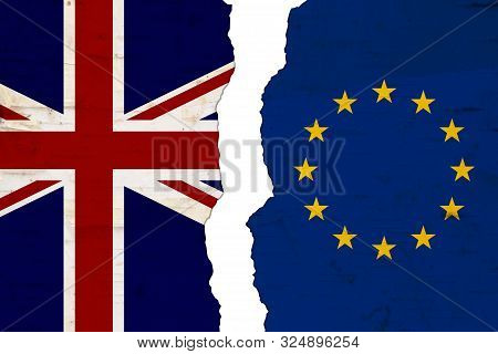 British And Eu Flags That Are Torn Apart Showing Brexit The Bad Relationship Between The Two Countri