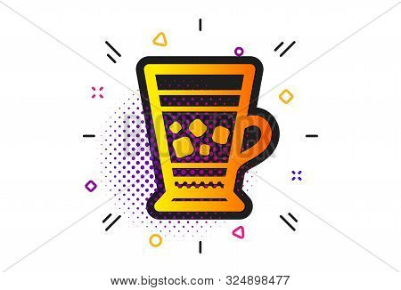 Cold Drink Sign. Halftone Circles Pattern. Frappe Coffee Icon. Beverage Symbol. Classic Flat Frappe