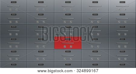 Individual Deposit Safe Boxes Wall With Number Plates, Tandem Keyholes On Steel Doors Illustration.