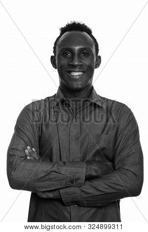 Young Happy Black African Man Smiling With Arms Crossed