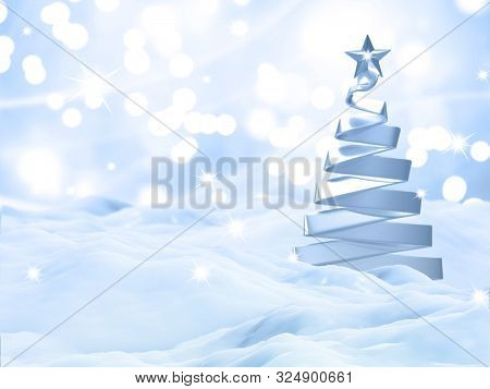 3D render of a Christmas snow landscape with silver tree