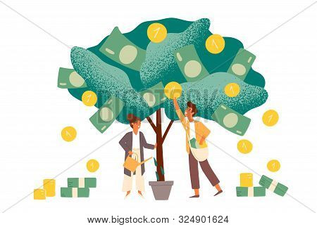 poster of Business investment profit flat vector illustration. Revenue and income metaphor. Businessman and businesswoman characters picking cash from money tree. Investors strategy, funding concept.
