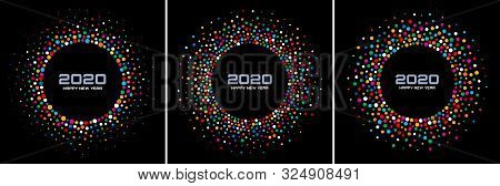 New Year 2020 Night Background Party Set. Greeting Cards. Rainbow Glitter Paper Confetti. Glistening
