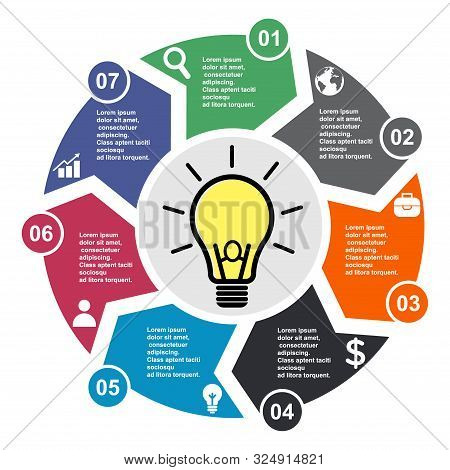 7 Step Vector Element In Seven Colors With Labels, Infographic Diagram. Business Concept Of 7 Steps