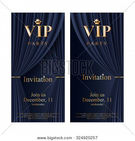 Vip Club Party Premium Invitation Card Poster Flyers Set. Black And Golden Design Template. Black Th