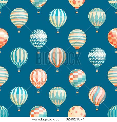 Hot Air Balloons Vector Seamless Pattern. Flying Aircrafts On Blue Background. Airships With Stripes
