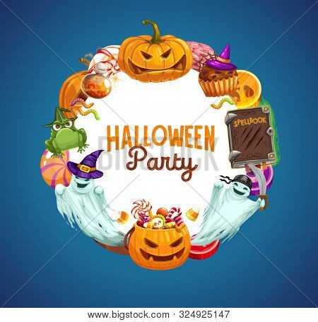 Halloween Horror Pumpkins, Ghosts And Trick Or Treat Candies, Witch Hat, Potion And Pirate Bandana,