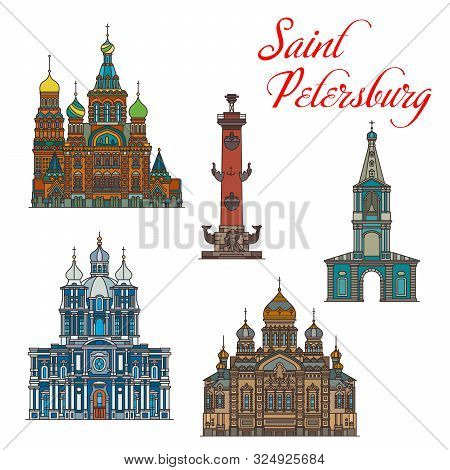 Saint Petersburg Architecture, Russia Famous Landmark Buildings Icons. Vector Dormition Of Holy Moth