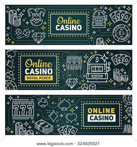 Casino Online Poker Gambling Game Banners. Vector Royal Casino Signage, Slot Machines, Poker Gamble