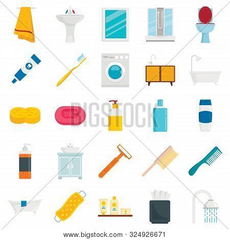 Bathroom Flat Set. Bathrooms Interior Flat Elements, Toilet Water Closet And Towel Dryer, Accessorie