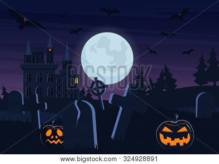 Halloween Spooky Graveyard Flat Vector Background. Scary Haunted House At Night Cartoon Illustration