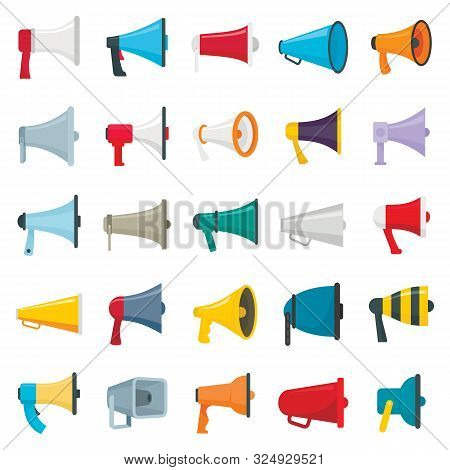 Flat Pictures Set Of Loud Speakers. Symbols For Promotion And Announce. Speaker And Megaphone, Louds