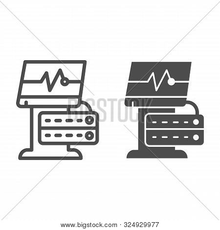 Ekg Device Line And Glyph Icon. Medical Monitor Vector Illustration Isolated On White. Electrocardio