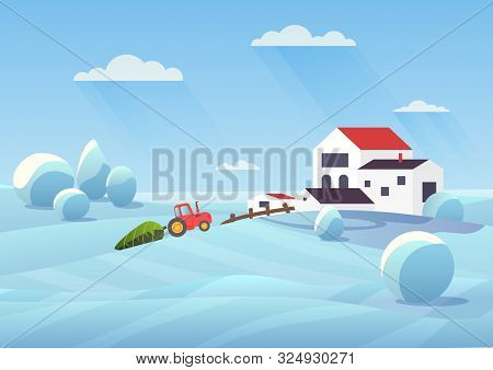 Snowy Winter Landscape Flat Vector Illustration. Countryside House And Snow Fields. Tractor Transpor