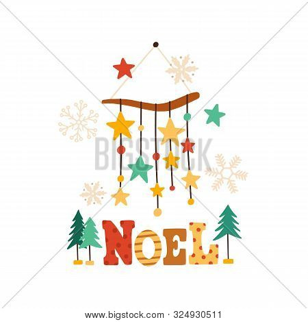 Christmas Wind Chimes Flat Vector Illustration. Winter Season Symbol And Noel Typography Composition