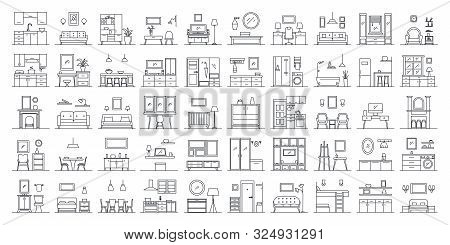 Set Of 50 Interior Design In Outline Style. Collection Include Different Workspace, Kitchen, Bedroom