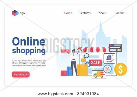 Internet Shopping Landing Page Flat Vector Template. Online Ecommerce Marketplace Website Design Lay