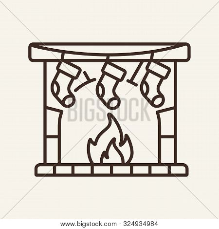 Christmas Fireplace Line Icon. Winter, New Year, Holiday. Christmas Concept. Vector Illustration Can