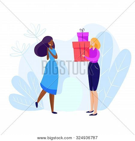 Woman Giving Gifts To Woman. Holiday, Generosity, Joy. Giving Concept. Vector Illustration Can Be Us