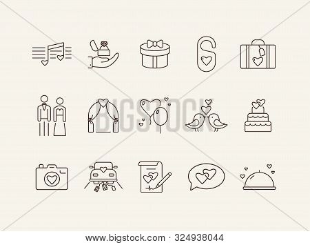 Marriage Day Icons. Set Of Line Icons. Proposal, Just Married Car, Wedding Cake. Wedding Concept. Ve