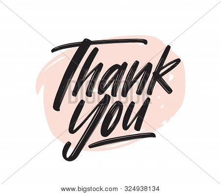 Thank You Handwritten Black Ink Lettering. Gratitude Expression Vector Brush Pen Phrase. Thankfulnes