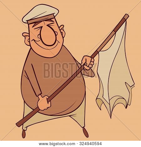 Cartoon Smiling Man In Beret With Torn Flag In Hand