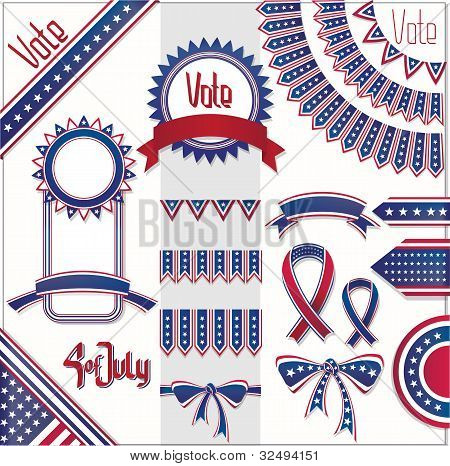 Usa Colors Design Decoration Set. No Fonts Were Used.
