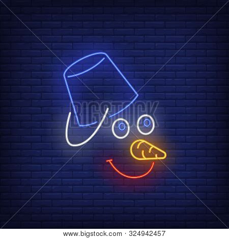 Snowman With Bucket Neon Sign. Face, Hat, Carrot Nose, Smile. Vector Illustration In Neon Style For
