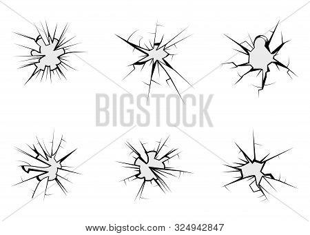 Broken Glass, Cracks On Glass. Set Of Cracked Glass Is Broken After Bullet. Crime Circle Break Cryst
