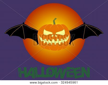 Hand Drawn Halloween Evil Pumpkin With Bat Wings Over Blood Moon On Purple Background With Decorativ