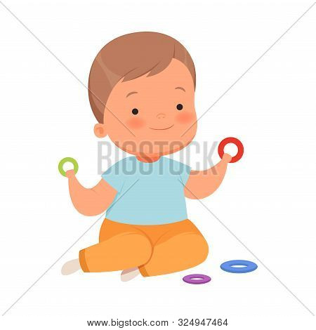 Boy Is Playing Ringlets. Vector Illustration On A White Background.
