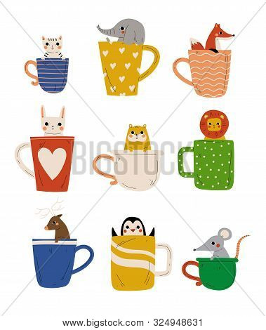 Collection Of Cute Animals In Teacups, Adorable Little Kitten, Elephant, Fox, Bunny, Hamster, Lion,