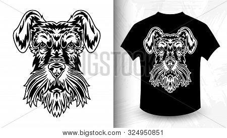 Dog Face. Miniature Schnauzer Breed. Design Idea For T-shirt Print In Vintage Monochrome Style. Desi
