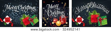 Merry Christmas Banner Set With Gifts On Dark Ground. Calligraphy With Decorative Design Can Be Used