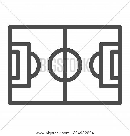 Football Field Line Icon. Pitch Vector Illustration Isolated On White. Stadium Outline Style Design,