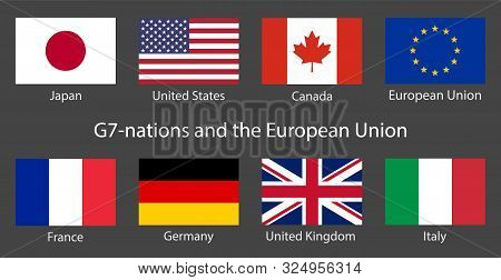 G7 Summit Flags Isolated Icons With European Union. Group Of Seven Vector Flags With Every Country O