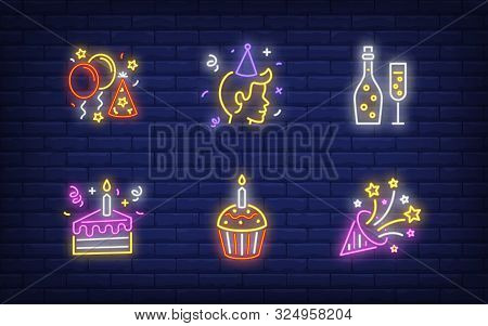 Birthday Party Neon Sign Set. Fizzy Wine, Balloons, Hat, Person, Cake, Firework. Vector Illustration
