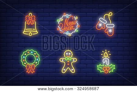 New Year Decor Neon Sign Set. Bell, Fairy Lights, Wreath, Gingerbread, Candle. Vector Illustration I