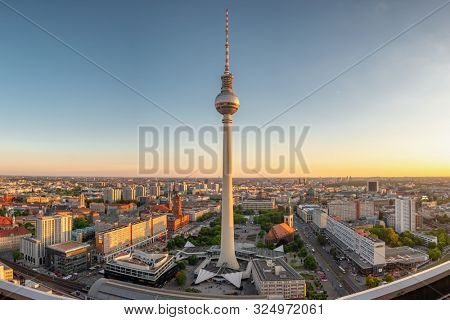 Berlin, Germany - May 18, 2019: Berlin TV Tower at Alexander Platz at summer in Berlin, Germany