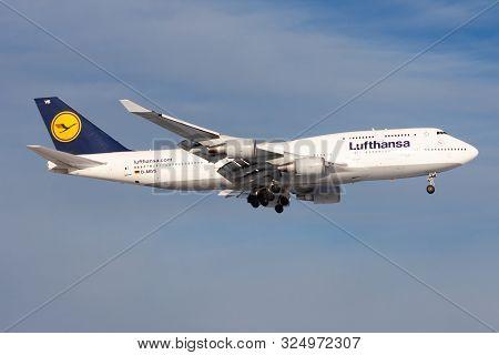 Frankfurt / Germany - December 8, 2012: Lufthansa Boeing 747-400 D-abvs Passenger Plane Landing At F