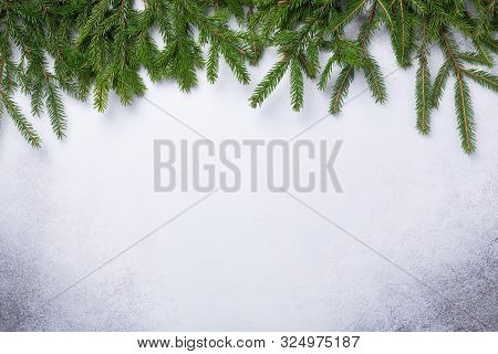 Christmas Stone Background With Fir Tree Branch. Top View. Copy Space - Image