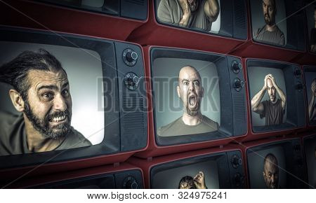 different portraits of people with sad or angry expressions inside old televisions.