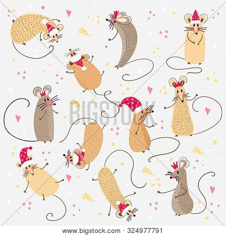 Set Of Funny Rats With Santa Claus Hats For Design. 2020.different Rats Christmas Collection. Rat Po