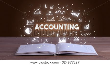 ACCOUNTING inscription coming out from an open book, business concept