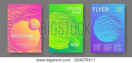 Flyer Poster Vector Graphic Design Set. Pink Blue Green Rainbow Waves Textures. Geometric Creative S