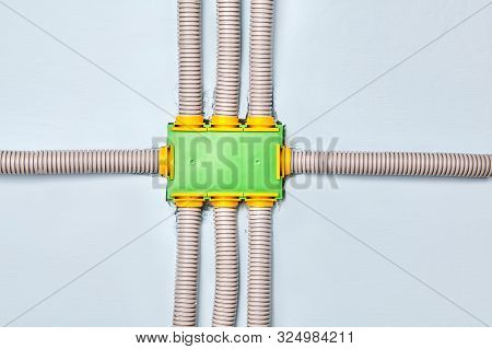 Junction Or Distribution Box  Of The Electrical Wiring Of A Residential Building. Connecting Conduit