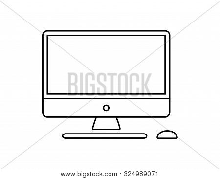 Computer Monitor Keyboard And Mouse Icon Vector Illustration. Computer Line In Cartoon Style. Screen
