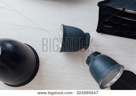 Photo Studio Accessories Flash Photographer On White Background