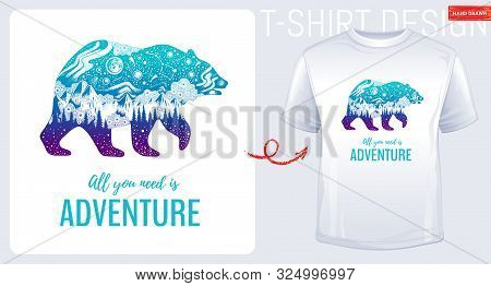 Trendy T-shirt Print Design. Great Bear In Hand Drawn Sketch Style. T Shirt With Vector Northern Lig